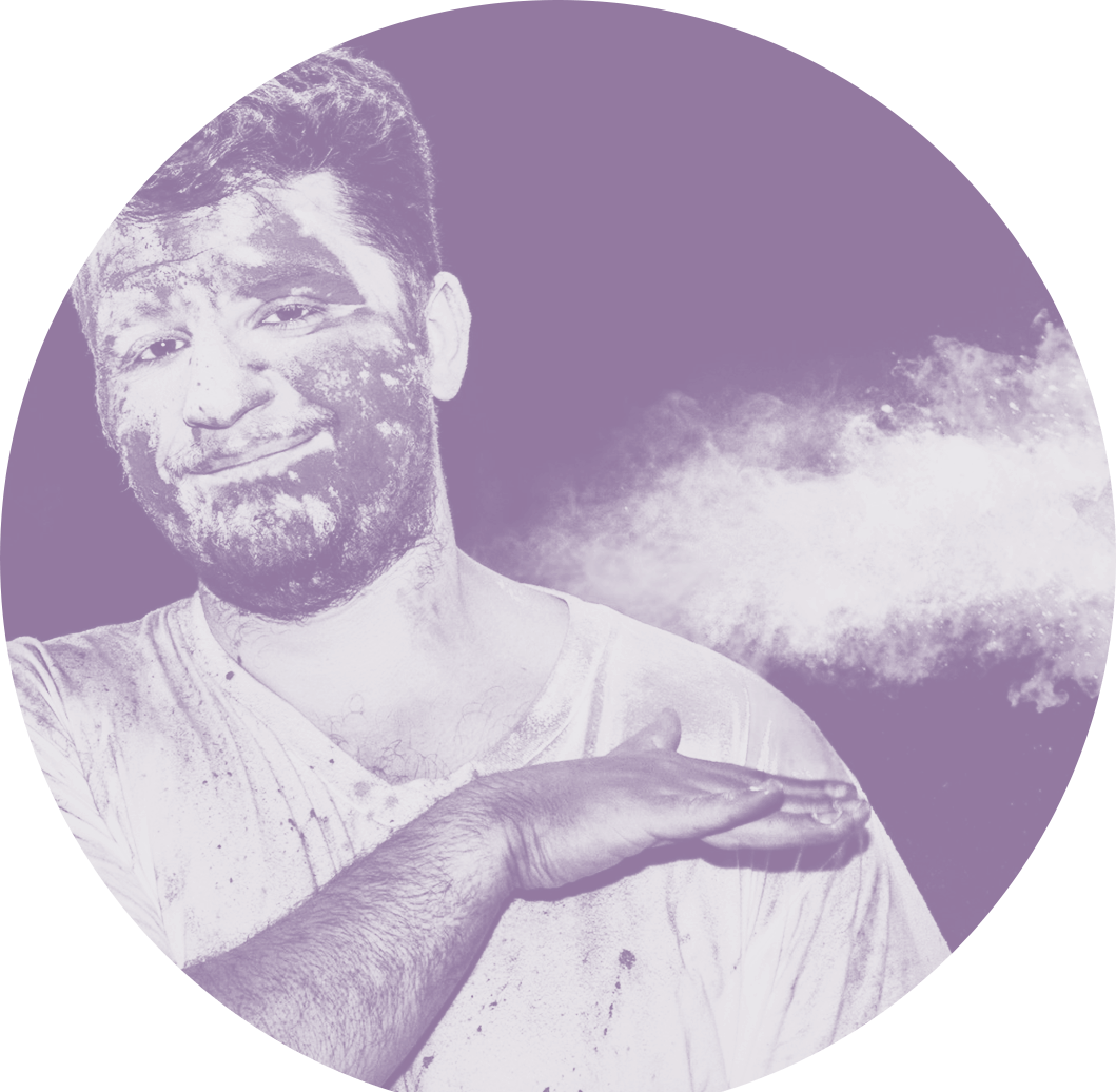 Image of a man brushing dust off of his shoulder.