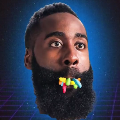 Image of James Harden with Trolli Gummy worms in his mouth.