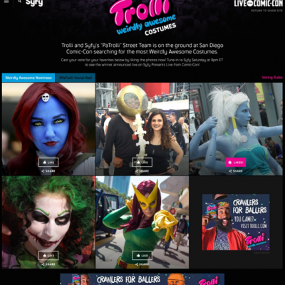 Images of people in costumes inspired by comic books sponsored by Trolli.