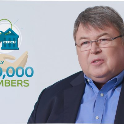 Image of a man talking about CEFCU's 330,000 members.