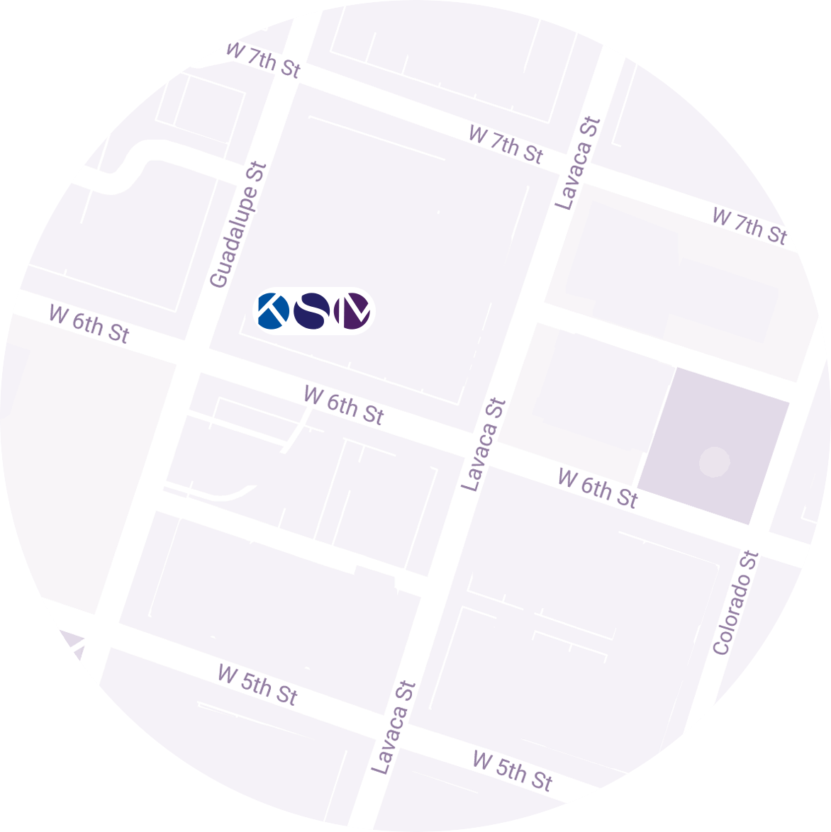 Map location of the KSM Austin office.